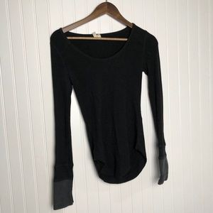 We the free black thermal long sleeve scoop top